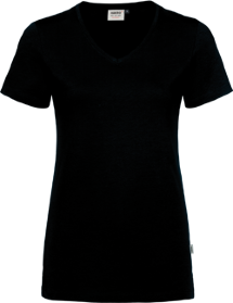 Hakro® Damen V-Shirt Cotton-Tec 169 / schwarz