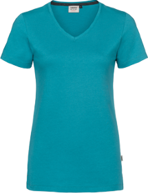 Hakro® Damen V-Shirt Cotton-Tec 169 / smaragd